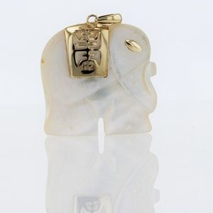 Jewelry - Vintage 14k Gold Mother Of Pearl Lucky Elephant